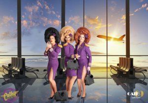Cathy, Holly and Molly are the Trolley Dollies at Gate 69 in Cape Town