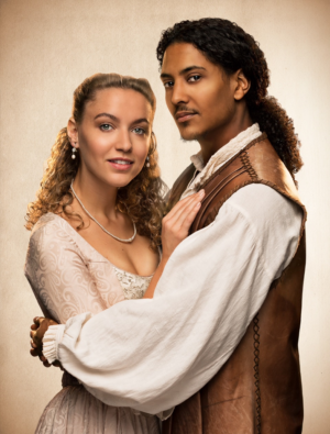 Roxane Hayward as Viola de Lesseps and Daniel Mpilo Richards as Will Shakespeare